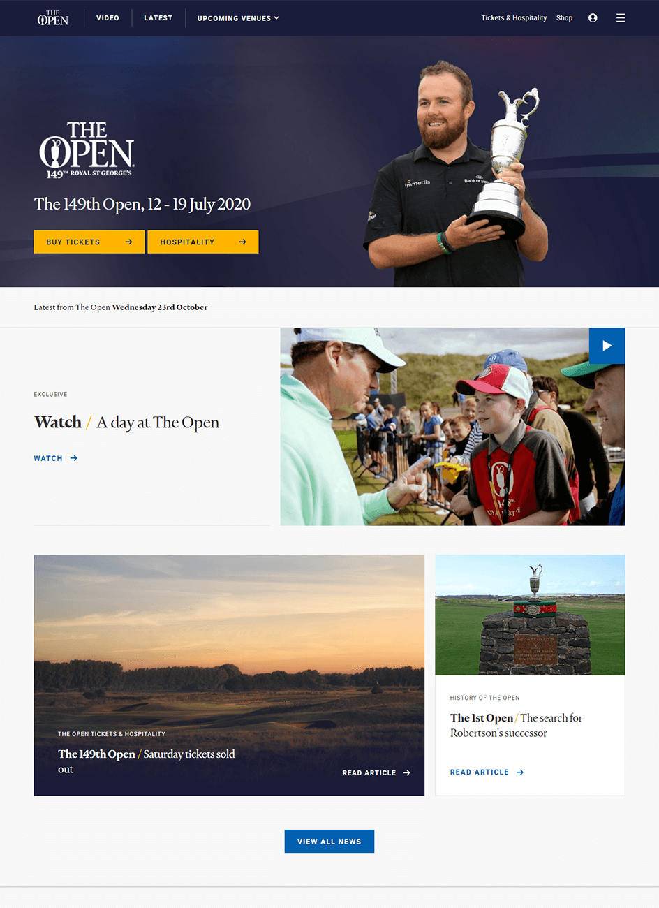 homepage the open