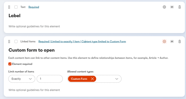 Custom Form Opening